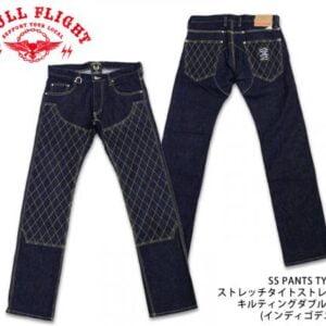 Skull Flight 菱格 彈性牛仔褲