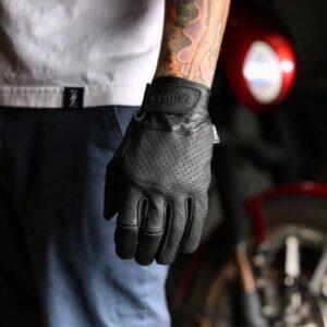 THRASHIN 皮革手套 黑色 真皮 透氣 觸控手套