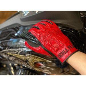SKULL FLIGHT 紅黑 透氣 造型 皮革手套 夏季 真皮 牛皮 側拉鍊